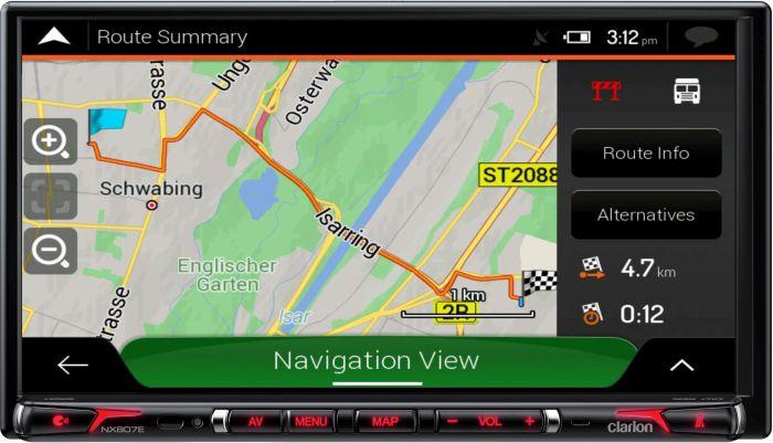 NX807EC iGo NextGen Clarion GPS con sensor giroscópico Apple Carplay estación multimedia para caravanas
