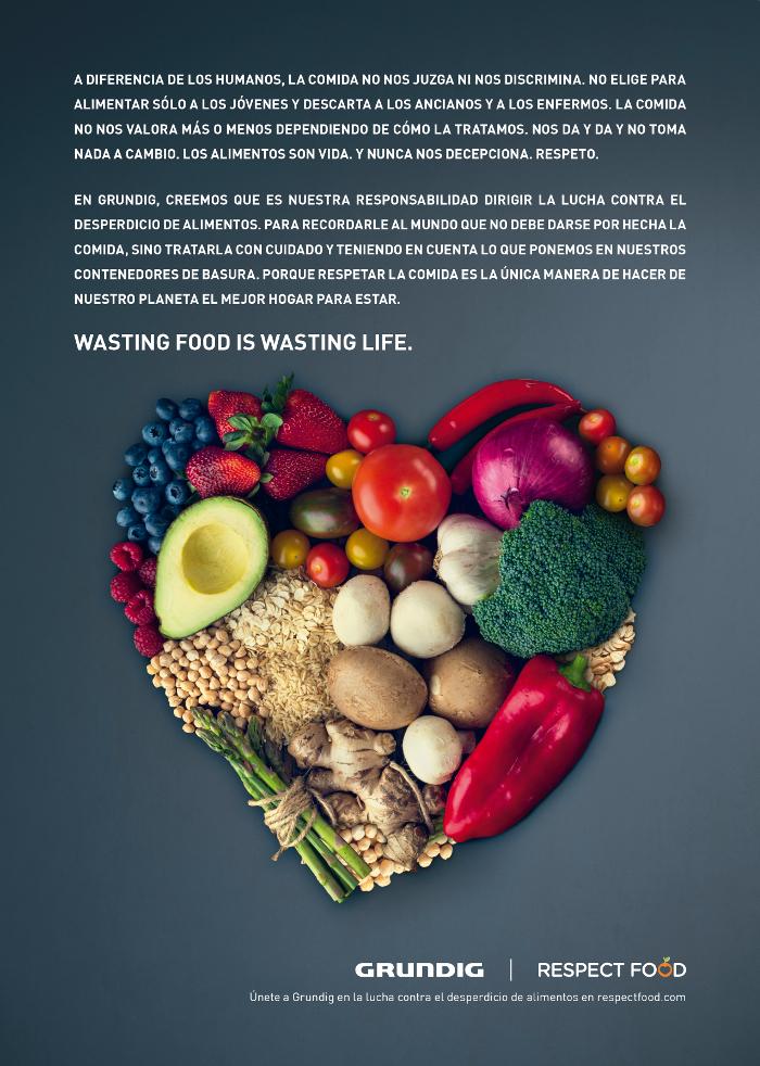 Hambre Cero , I am food (Soy el Alimento), fabricante de electrodomésticos, desperdicio de alimentos, sostenibilidad, Respect Food, Grundig, Malgastar los Alimentos es Malgastar la Vida, ONU,  Objetivos de Desarrollo Sostenible, calendario de Naciones Unidas, Día Mundial de la Alimentación,