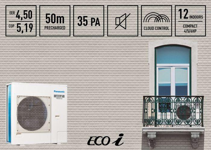 Mini ECOi Panasonic unidades de calefacción y refrigeración Mini VRF compresor rotativo Twin inverter revestimiento Blue Fin Plug and play