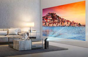 proyector 4K UHD de LG premio CES a la Mejor Innovación CES 2018 motor sin espejo en forma de I Smart TV interfaz webOS 3.5 serie HU20K LG MiniBeam (modelo PF50K) FullHD contenido HDR streaming