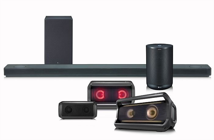 LG Meridian Audio Dolby Atmos Google Assistant ThinQ LG SK10Y Digital Signal Processing (DPS) psicoacústica Height Elevation televisores LG OLED y SUPER UHD de 2018 Chromecast Hola Google altavoces PK Bluetooth APT-X HD Dynamic Party Lighting producto premium de audio de inteligencia artificial