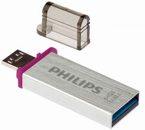 memorias flash USB tarjetas de memoria SD MicroSD memorias externas DRAM Philips Plug and Play conector microUSB smartphone tableta dos conectores Philips Dual Serie Mono