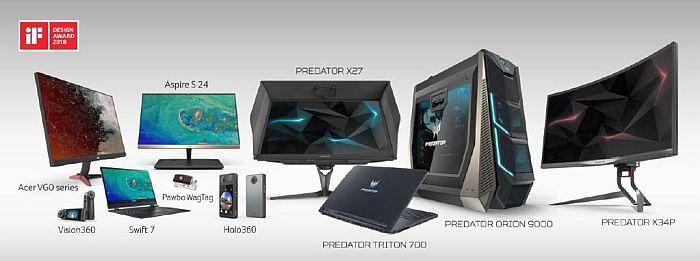 Foro Internacional de Diseño iF GmbH de Hannover Acer Holo360 Acer Vision360 Pawbo Wagtag monitores VG0 tecnología Visual Response Boost (VRB) tecnología In-Plane Switching Acer VG0 Acer Aspire S 24 Intel XMM 4G LTE Acer Swift 7 visor Predator Galea 500 Packaging Predator Gaming Gadget PredatorSense iF Design Awards 2018 equipo sobremesa gaming Predator Orion 9000 Portátil gaming Predator Triton 700 monitor gaming Predator X27 monitor gaming Predator X34P ZeroFrame