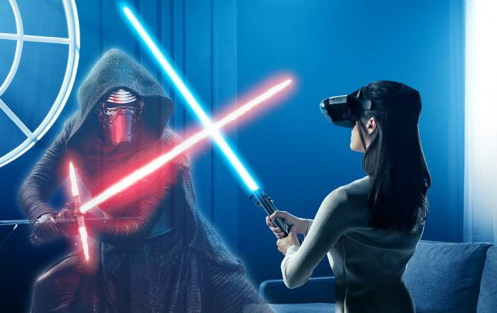 Lenovo Disney Star Wars: Desafíos Jedi Lenovo Mirage mando espada láser baliza de rastreo Lenovo Mirage AR sensores de ojo de pez