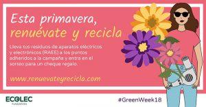 #GreenWeek18, Fundación Ecolec, concienciación, raee, residuos de aparatos eléctricos, campaña concienciación, reciclaje de RAEEs, comercios, tienda de proximidad, recogida, gestión, cheque, regalos, acciones, promoción, reciclado, reciclaje, electrodomésticos