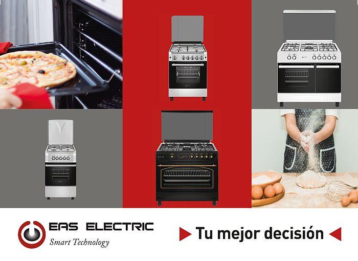 EFG9B60 piezoeléctrico anillo wok Eas Electric EFG660 EFG555 parrillas de fundición quemador inferior grill superior y temporizador mecánico en su horno cocinas de gas