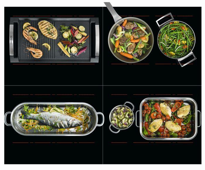 Roasting Pot Pizza Stone Electrolux placa de inducción Infinite sistema EasyFix función Hob2Hood inducciones con controles independientes Triple Zona XL FlexiPuente