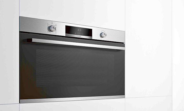 hornos compactos todo en uno horno microondas 100% vapor vapor añadido pirolítico Home Connect bandeja antiadherente bandejas Twin Clip Rails termosonda con un punto de medición horno de 90x60 cm display LCD Serie 6 Serie 8 Bosch