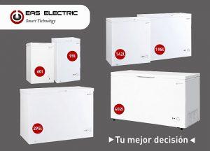 arcones congeladores, arcones EMCF, congeladores horizontales, Eas Electric, modos refrigeración y congelación, termostato ajustable