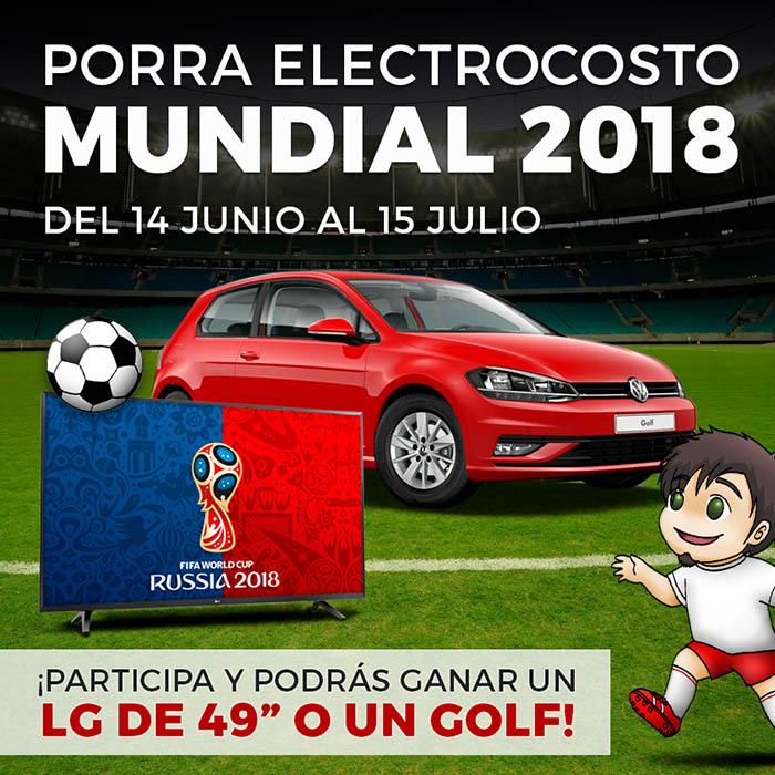 electrocosto, porra mundial coche, golf, sorteo, concurso, promoción, tienda online de electrodomésticos