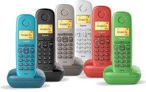 diseño de líneas redondeadas, Gigaset A170, Gigaset GS270, teclado ergonómico, telefonía fija, teléfonos de colores