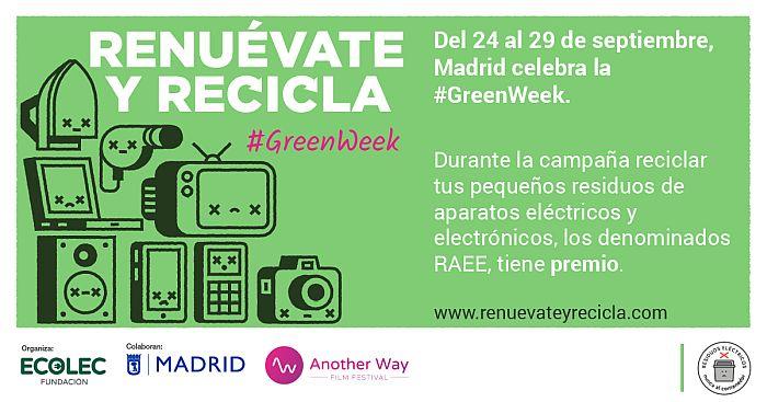 #Greenweek, ACEMA, Another Way Film Festival, AWFF, Ayuntamiento de Madrid, Cineteca Madrid, Economía circular, Fundación Ecolec, Hepecasa, Master Cadena, Matadero Madrid, Milar, Proselco, RAEE, Real Decreto 110/2015, reciclaje, reciclaje de RAEE, Renuévate y recicla, Tien21