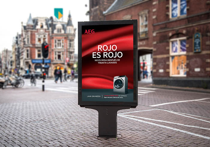 campaña de AEG, rojo es rojo, lavado, encastre, marca aeg, electrodomésticos aeg