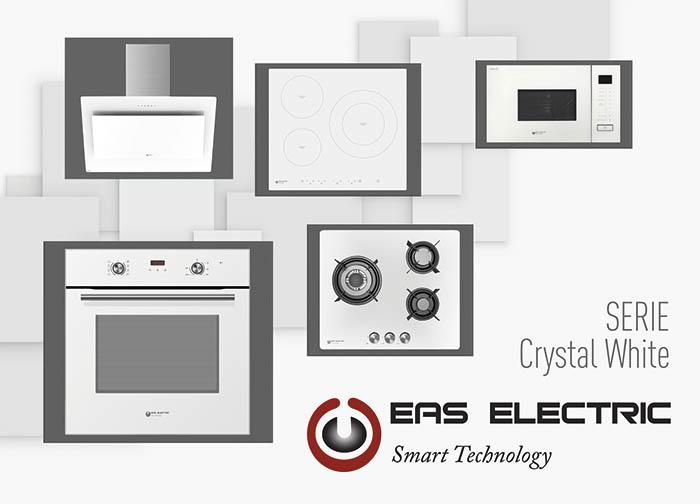 eas electric, electrodomésticos, crystal white, horno, cristal blanco, diseño, cocción, placa de inducción, horno, microondas de encastre