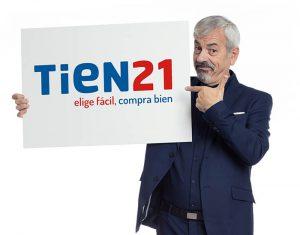 tien21, sinersis, tienda de electrodomésticos, enseña, comprar electrodomésticos, punto de venta, Carlos Sobera, nuevo logotipo, branding, imagen de marca