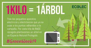 ecolec, greenweek, raee, residuos de aparatos eléctricos, puntos de recogida, 15 ciudades, campaña, economía circular, reforestación, bosques, arbol