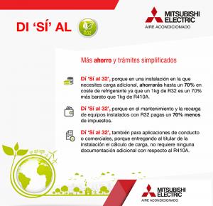 campaña mitsubishi electric, gas refrigerante R32, aire acondicionado, campaña, instalaciores, ventajas, gas refrigerante, equipos de aire acondicionado, instaladores, ahorros, campaña di sí al R32