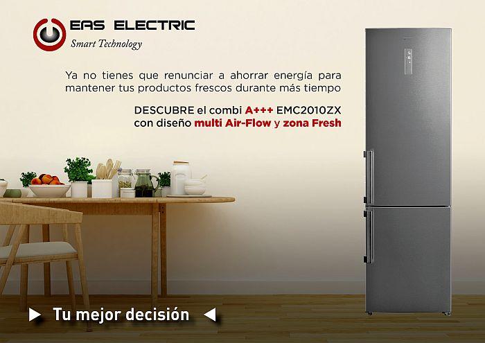 bajo nivel sonoro, control con display en puerta, Eas Electric, EMC2010ZX, frigorífico combi A+++, iluminación interior, inox, LED, Multi-Air Flow, Total No Frost, zona Fresh