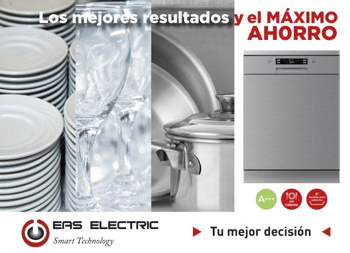 A+++, bajo nivel sonoro, bloqueo infantil, display digital, Eas Electric, eficiencia energética, EMD143X, inicio diferido, lavado automático, lavavajillas, lavavajillas de libre instalación, siete programas de lavado