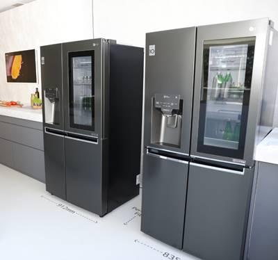 frigoríficos LG, frogoríficos americanos, side by side, acabado negro mate, instaview, eficiencia energética, gran capacidad, innofest 2019, lg electronics