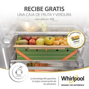 Freeze Control, frigorífico combi Dual NoFrost, fruta y verdura, sensores Fresh Control, tecnología 6th Sense, Total NoFrost, Whirlpool