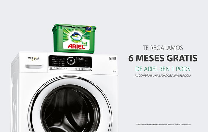 whirlpool, promoción, lavadoras, lavasecadoras, regalo de seis meses de detergente, detergente ariel, promoción, lavasoras freshcare+, lavadoras supreme care zen, whirlpool, electrodomésticos, regalos, lavadora, detergente, ariel