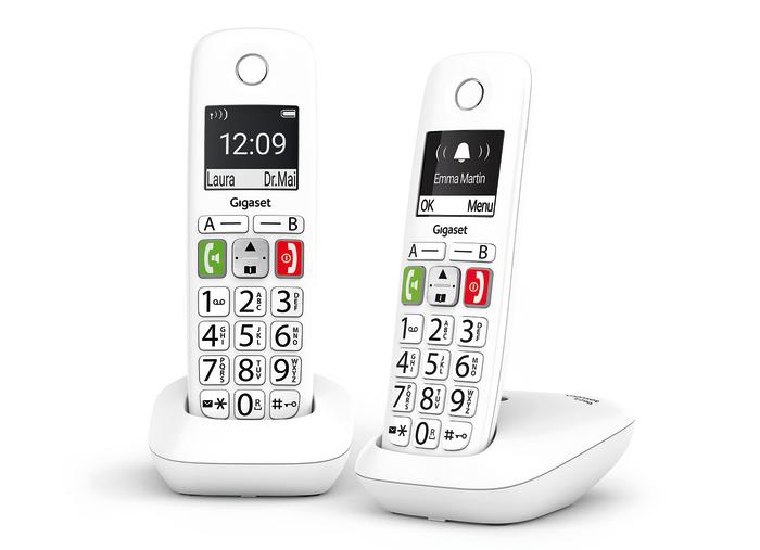 Audio Boost, botón#, botones de gran tamaño, compatible con audífonos, estructura ergonómica, función de Manos Libres, función de Teléfono Integrado para Bebés, gama Life series, Gigaset, Gigaset E290, instalación plug & play, modo de Icono Único, modo Jumbo, pantalla iluminada de 2 pulgadas en blanco y negro, submenús basados en texto, teclas de función, teclas de marcación rápida, teléfono inalámbrico, teléfonos para personas con necesidades especiales