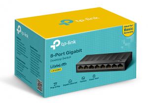 Autonegociación, cámaras web, control de flujo IEEE 802.3X, ecnología Green Ethernet de ahorro energético, hogares, ideal para uso en pequeñas empresas, impresoras, IPTVs, LiteWave, LS1008G, ordenadores, Plug&Play, RJ45 10/100/1.000 Mbs, sistemas de vigilancia, soporte AutoMDI/MDIX, switch de escritorio de ocho puertos Gigabit, switches no gestionables, tp-link, TP-Link LS1008G