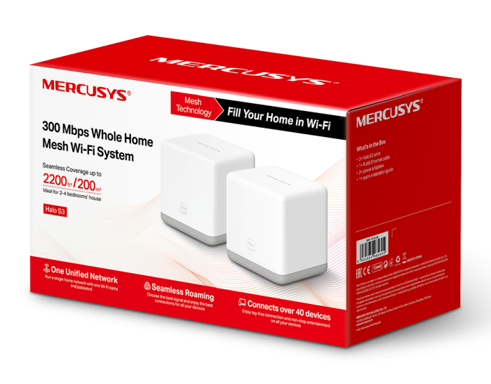 sistema de WiFi en malla para conectar el Hogar Halo S3 de Mercusys